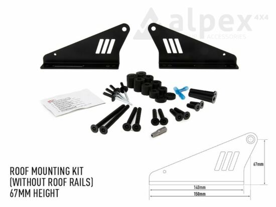 Lazer Lamps Roof mounting kit, without roof rails - 67mm height