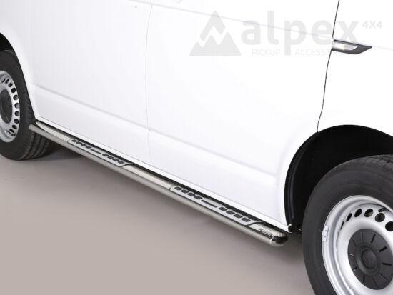 Misutonida csőküszöb - design betéttel, ovális - Volkswagen Transporter T6 SWB 15-