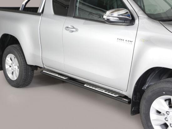 Misutonida csőküszöb - design betéttel, ovális - fekete - Toyota Hilux E/C 16-